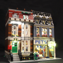 Led Light Set For Lego 10218 Building Blocks Creator City Street Compatible 15009 pet shop Toys(only light with Battery box)