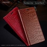 Luxury Genuine Leather Case For OnePlus 5T Flip Case Crocodile Texture Silicone Soft Bumper All Around