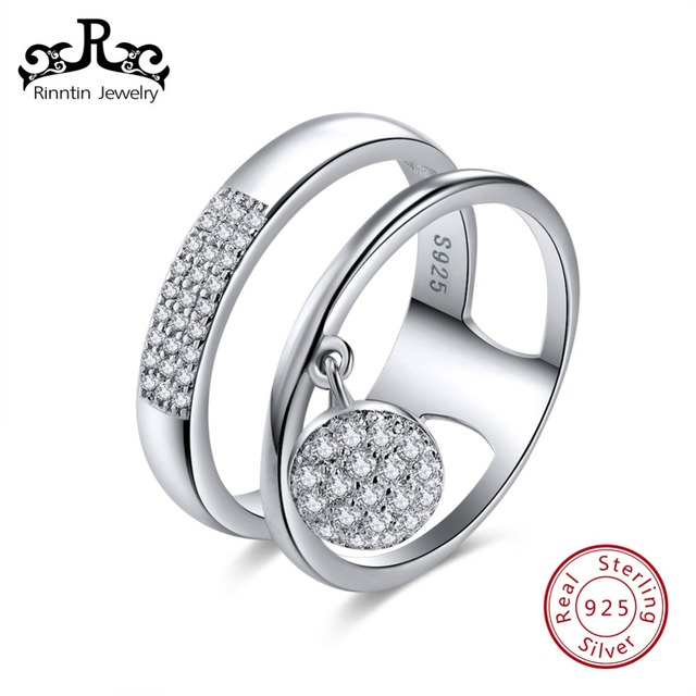 Rinntin Sterling Silver S925 Women Rings AAA Shiny Cubic Zircon Pave Setting Two