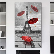 Paris painting Black and white posters Red umbrella picture Eiffeltoren print wall art canvas Modern home decoration