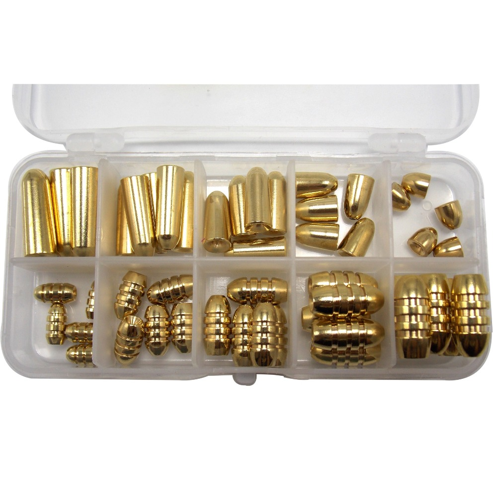 CATCHSIF Brass Non-Lead Bullet fishing Weights 50pcs 11oz/310g