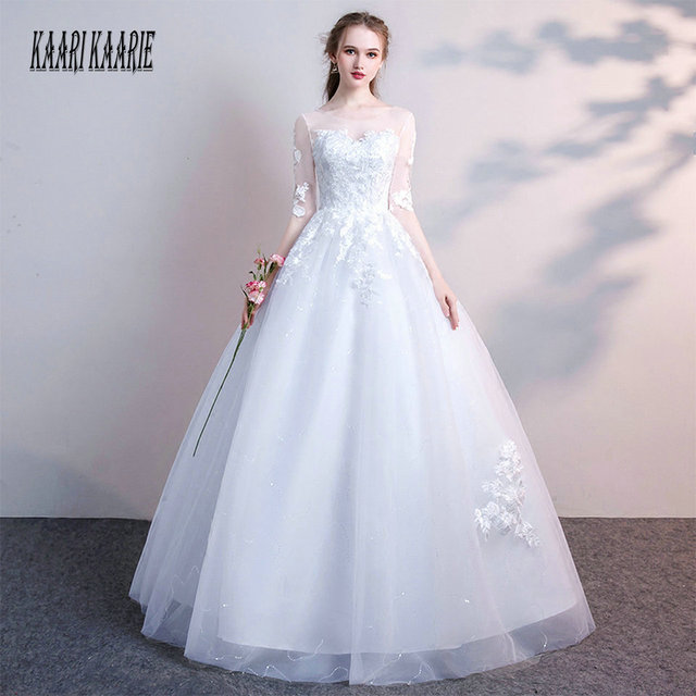 Gorgeous White Wedding Dress 2018 Ivory Wedding Gowns Long For Women Scoop  Tulle Appliques Lace Up Ball Gown Bride Dresses Party e70850cf0197