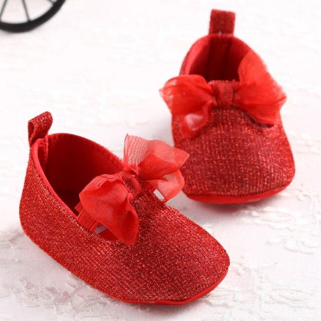 ef2fe7ac1 الأحمر Bowknot الطفل بنات طفل أطفال Prewalker المضادة للانزلاق حذاء بسيط  جميل لينة أسفل سرير طفل