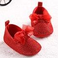 Rojo del bebé del bowknot niñas zapatos del niño de prewalker antideslizante zapato simple precioso cuna niño arco zapatos de bebé inferiores suaves sapato menina