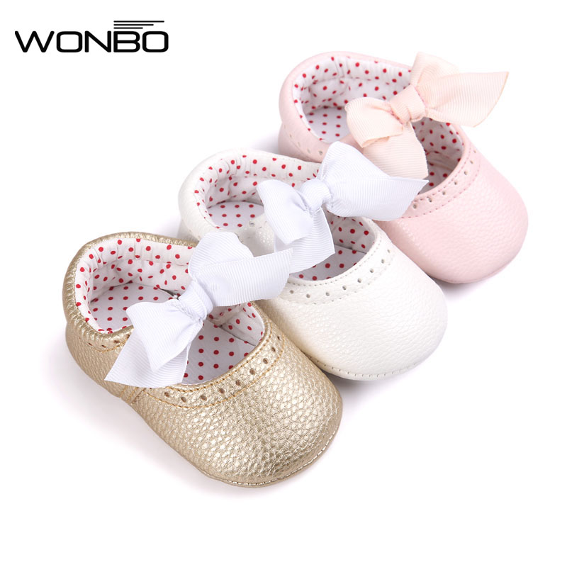 E-excellent Soft Bottom Fashion Butterfly-knot Baby Moccasin Newborn Babies Shoes PU Leather Prewalkers Boots Non-slip Shoes for Baby Girls