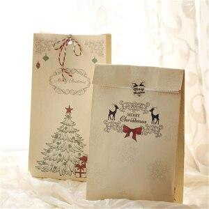 Image 5 - New 6 cái/bộ Kraft Túi Giấy Giáng Sinh Vui Vẻ Quà Tặng Túi Đảng Lolly Favour Bowknot Wedding Bao Bì 22x12x6 cm Mix