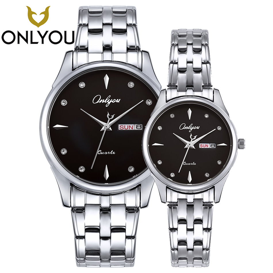 ONLYOU Fashion Lover Watch Men Women in Lover's Watches Round Couple Business Quartz Wristwatch Rosegold Clock Date display onlyou fashion lover watch men women in lover s watches round couple business quartz wristwatch rosegold clock date display