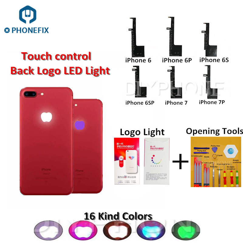 PHONEFIX 16 Kind Colors Back Logo LED Light Glow Lamp Flex Cable Lighting LED For IPhone 6 6P 6S 6SP 7 7P Flex Cable