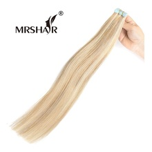 """Mrshair P18/613 # Ленты в Пряди человеческих волос для наращивания смешанные светлые волосы прямой двухсторонний Ленты расширения, не REMY 20 штук 16 """"-24"""""""