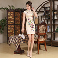 2017 New Summer Chinese Style Dress Chinese Traditional Dress Vestido Beige Embroidery Short Sleeve Cheongsam Evening Dresses