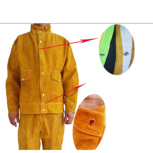 Image 3 - מעיל ומכנסיים ארוכים מגן הלחמה ריתוך בטיחות עור פרה 500 מעלות חום עמיד GM1014 Custome