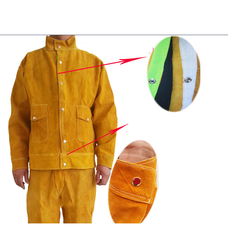 Image 3 - Cow Leather Safety Welding Jacket &Long Pants Protective Soldering Custome 500 Degree Heat Resistant GM1014-in Safety Clothing from Security & Protection