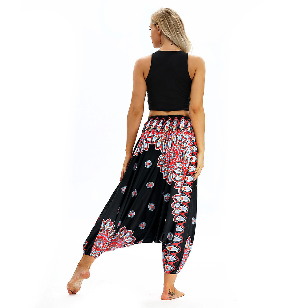 Women Men Pants Casual Woman High Waist Wide Leg Harem Trousers Baggy Boho Loose Aladdin Festival Hippy Jumpsuit Print Lady pant 92