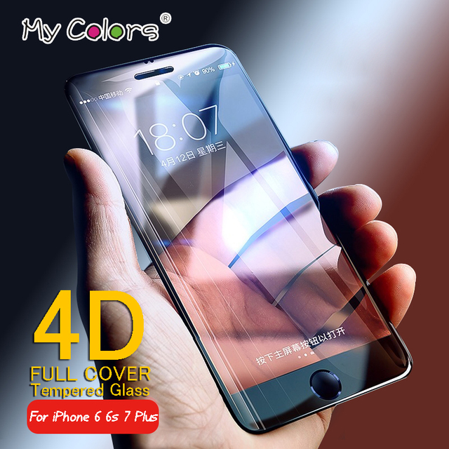 My Colors 4D Full Cover Tempered Glass For iPhone 6 glass 6s 7 Plus Screen Protector iphone 7 glass Film Curved Edge Protection