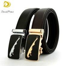 DavidPrince New Fashion Men Belt Black Leather With Golden Leopard Pattern Alloy Buckle Casual Waistband Leather Men Luxury Belt