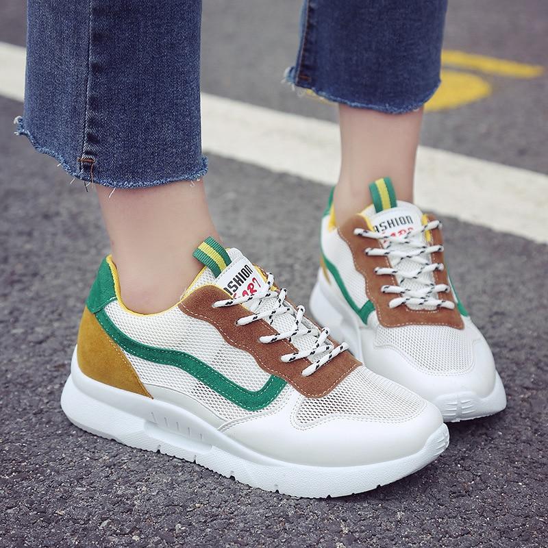 2018 Women Sneakers Shoes Ladies Vulcanize Shoes Breathable Platform Casual Sneakers Mixed Color Basket Femme