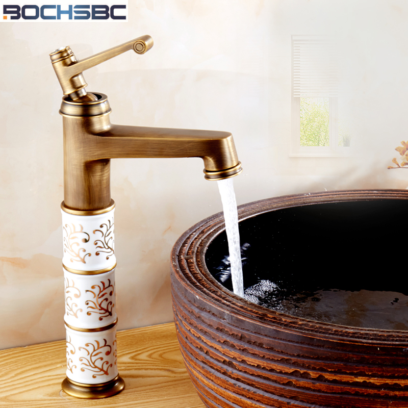 Bochsbc European Deck Mounted Bathroom Faucet Retro Ceramic Faucets Hot And Cold Water Single