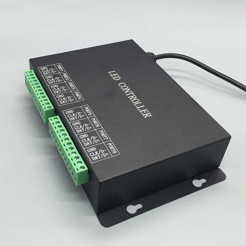 led controller support DMX512 WS2811 WS2812 UCS1903,etc.connect master or computer,8 ports drive 8192 pixels.powerful software t1000s sd card led controller pixel controller for ws2812 b2812b dmx512 ws2811 ws2801 lpd8806 apa102 rgb controller
