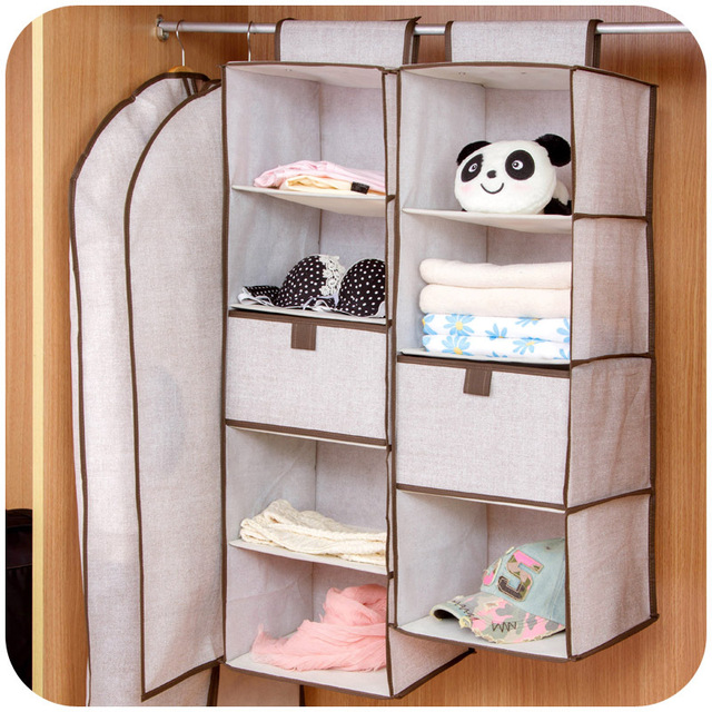Simple Linen Closet Storage Bag Multilayered, Clothes Closet With Drawers  Boxes Hanging Pouch SN1594