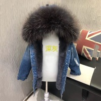 2018 new girl real fur parka for winter denim child 100% natural raccoon fur hooded warm outwear fashion fur denim body parkas