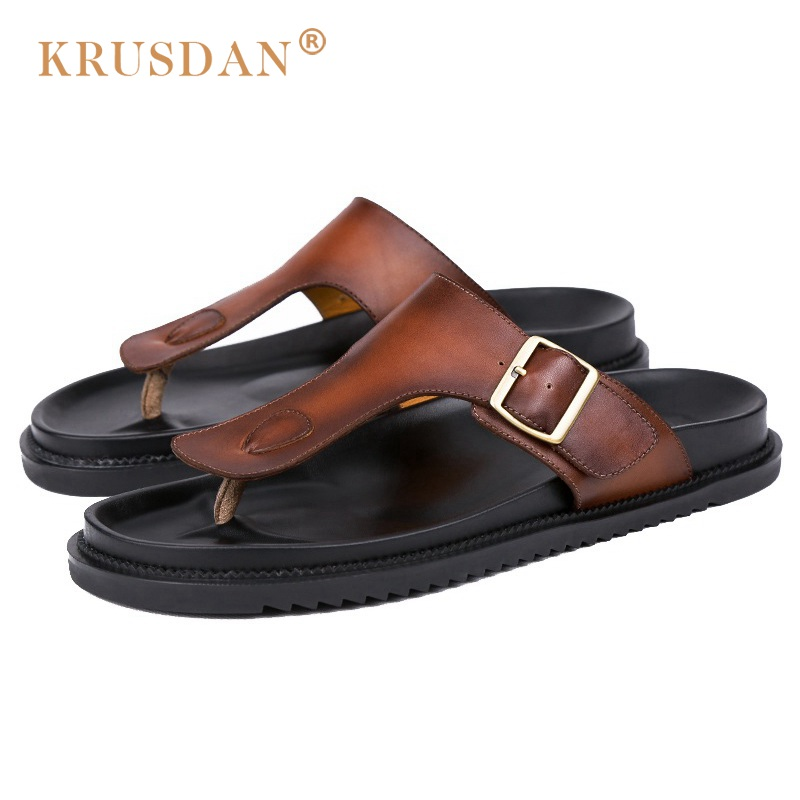 2017 hot rushed mens sandals real sandals summer handmade genuine leather non slip beach shoes outdoor casual flip flops sandals