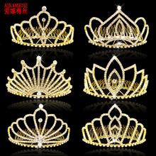 hot deal buy ainameisi new design luxury bridal tiaras and crowns with comb gold color princess pageant prom rhinestone wedding hair jewelry