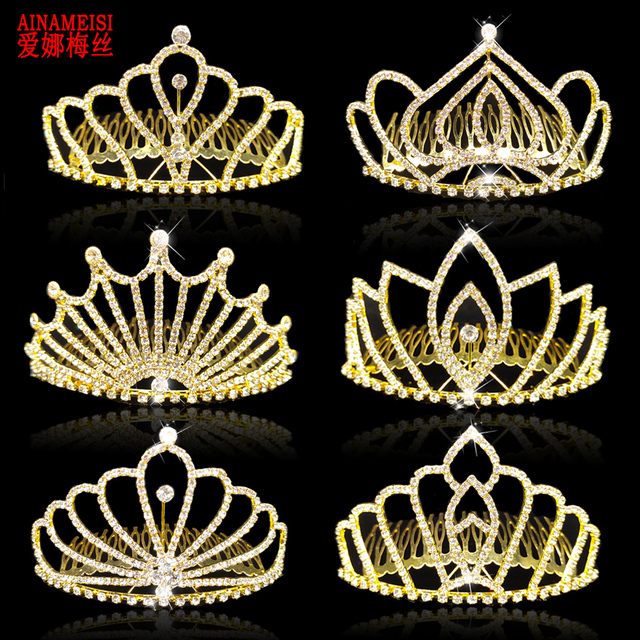 AINAMEISI New Design Luxury Bridal Tiaras and Crowns with Comb Gold Color Princess Pageant Prom Rhinestone Wedding Hair Jewelry