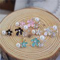 Colorful Enamel Flower Pearl Elegant Fashion Nice Stud Earrings For Women Free Drop Shipping CE075