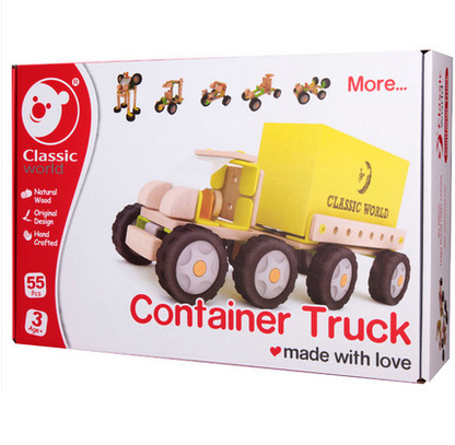 classic world wooden traffic tools nut assembly toy Container Truck toy for kid boy girl hand crafted Brain Teaser gift brain boy volume 2
