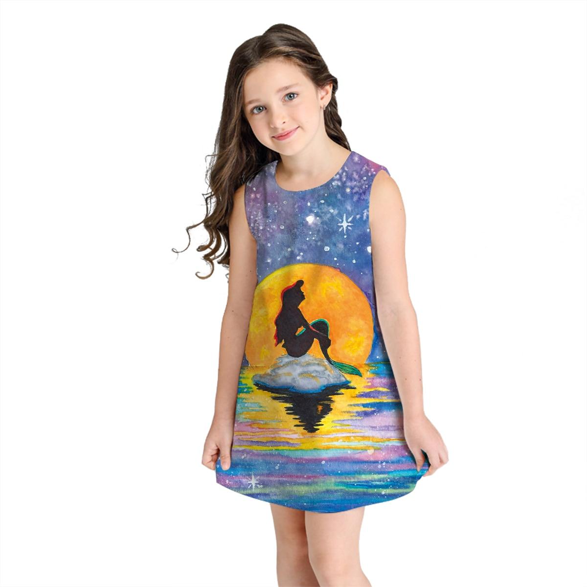 b0b16eaea210 Raisevern Sleeveless Dresses Girls 3D Digital Little Mermaid Summer Kids  A-line Star Moon Printing