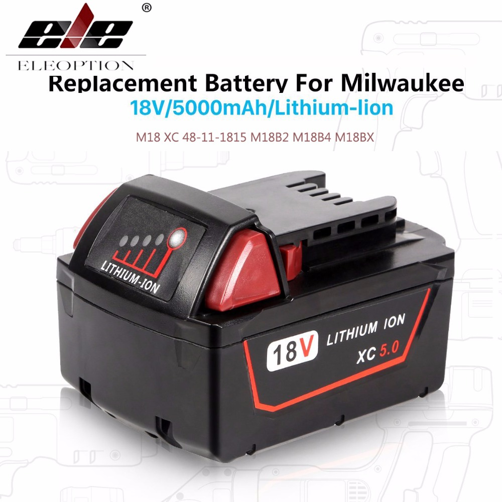 ELE ELEOPTION 5000mAh 18V Li-Ion Replacement Power Tool Battery for Milwaukee M18 XC 48-11-1815 M18B2 M18B4 M18BX