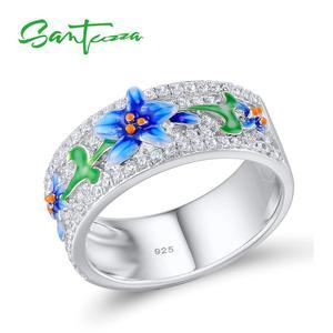 Женское серебряное кольцо SANTUZZA, модное кольцо из стерлингового серебра 925 пробы с фианитом, вечерние ювелирные изделия из эмали 2017