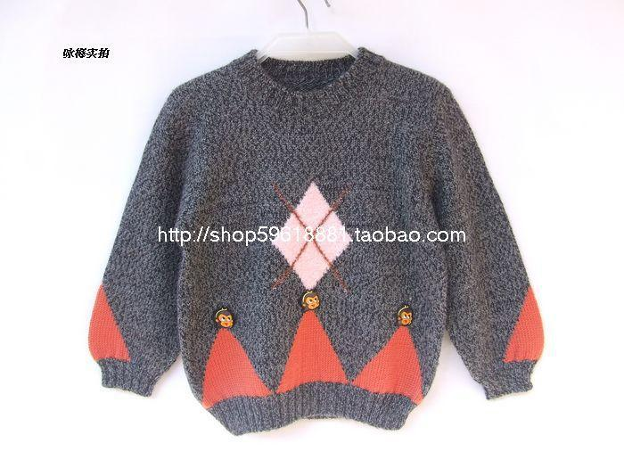 Hand Knitted Boy Wool Pullover Sweater Childrens Clothing Thick