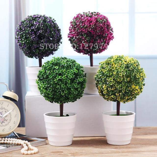 Sakura Snow Ball Tree Plastic Pots Artificial Bonsai Tree Mini