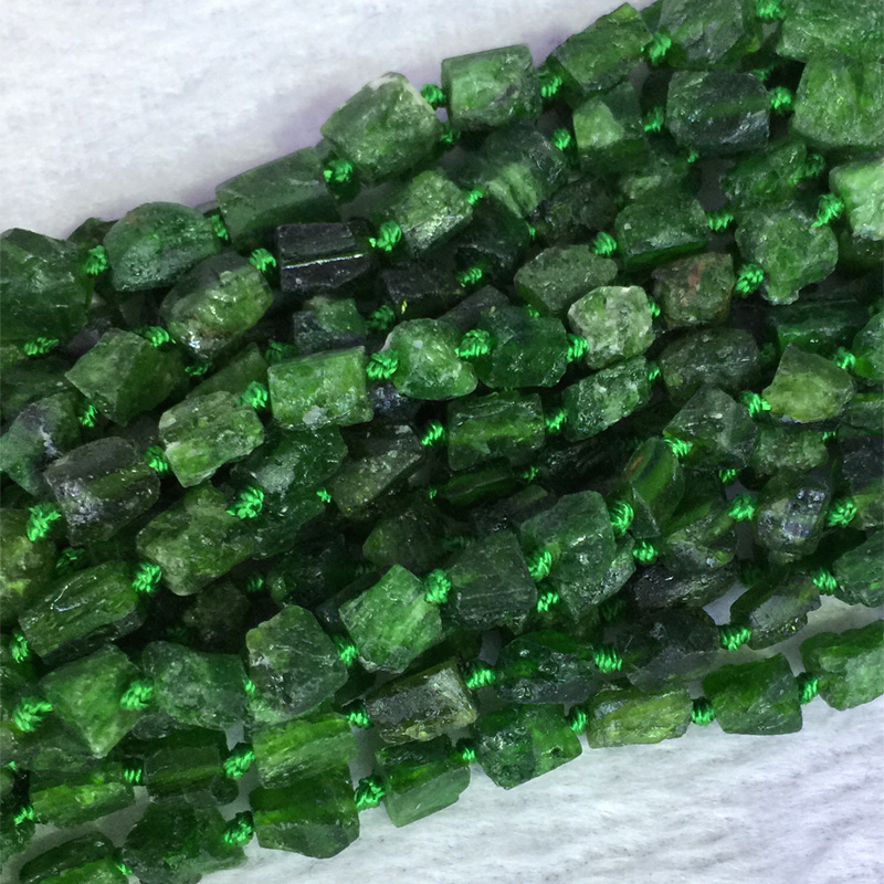 Natural Genuine Raw Mineral Dark Green Chrome Diopside Nugget Free Form Loose Rough Matte Faceted Beads 5-7mm 05394
