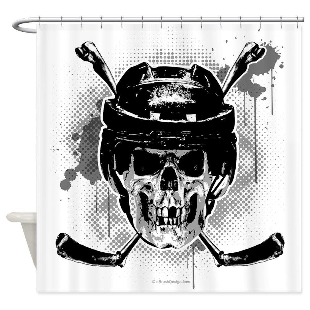 Hockey Skull L Shower Curtain - Decorative Fabric Shower Curtain
