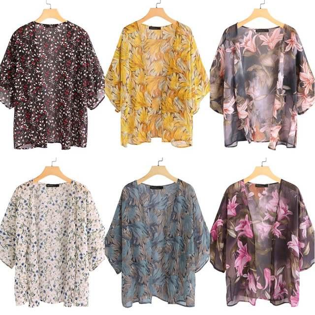 para verano chal de gasa Zanzea Kimono floral para mujer