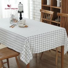 SlowDream Tablecloth Nordic Plaid 100% Cotton Decorative Table Cloth Rectangular Square Edge European Waterproof Cover