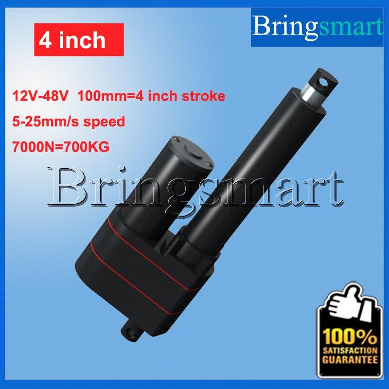 Оптовая продажа 4 дюймов 100 мм линейный привод 12 В ход 7000N 700 кг нагрузки 36 В трубчатый 48 В мини Электрический привод 24 В Водонепроницаемый