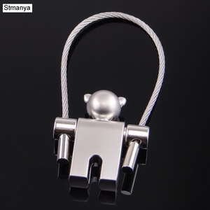 New cartoon Transformers steel wire rope key holder metal activities robot key chain K1556(China)