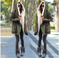 2016 Fashion women'sLarge raccoon fur collar hooded coat parkas outwear rabbit fur lining winter jacket W-019