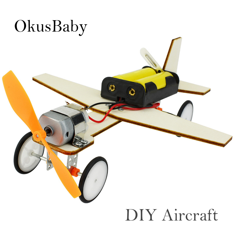 DIY Craft Toys Children Educational Wooden Glide Aircraft Model Assemble Toys Set Electric Plane Student Learning School Lessons