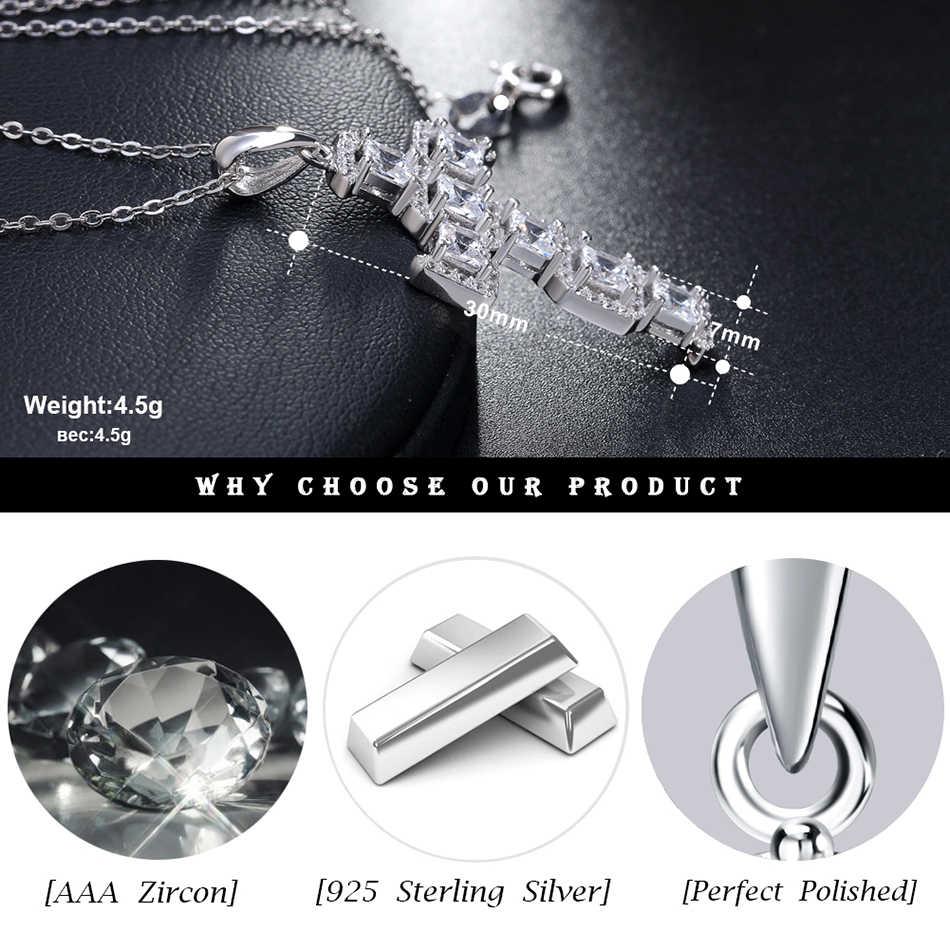 ORSA klejnoty kobiety 925 Sterling srebrne wisiorki i naszyjniki mężczyźni krzyż kształt biżuterii AAA naszyjnik cz SN64