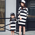 2016 New Spring&Autumn Style Family Matching Outfits Mother And Daughter Fall Full Balck Striped Dress Free Shipping Hot Sale XL