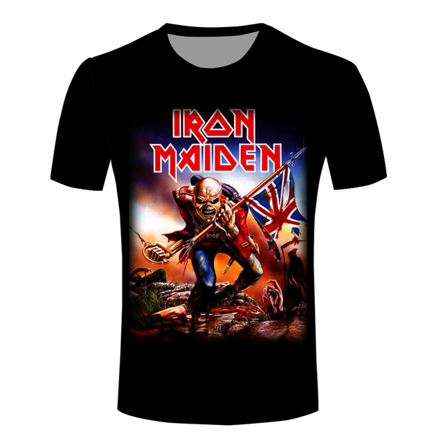 8fddedc5 Top Sales Fashion Men Shirts New 3d Iron Maiden Eddie The Trooper T Shirts  Casual Comfortable O-neck Tees Top