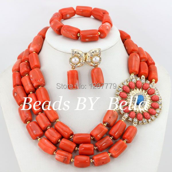 WOW ! Lastly Discovered Orange Coral African Bead Jewelry Set Nigerian Costume Fashion Jewelry Set Free Shipping ABS107