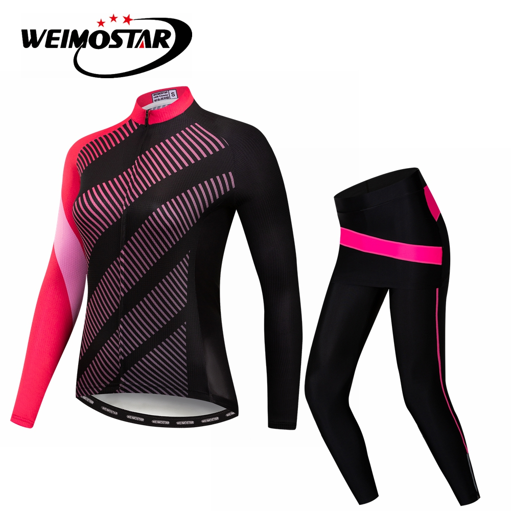 8d734d0f1 2018 MTB Bike Jersey pants set Women Cycling jersey Suit Ropa Ciclismo  Shirts bicycle Top Bottom Female long sleeve blouse Red