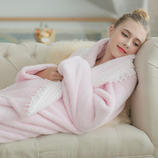 d5619f872a Women Robe Pink Flannel Long Robe Autumn Winter Fashion Long-sleeve Robe  Thickening Blanket Elegant