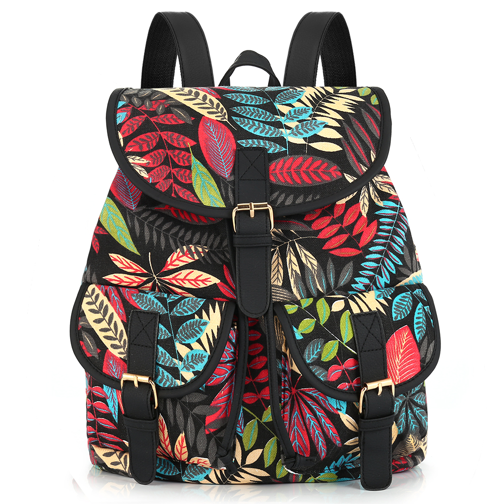 Sansarya 2017 New Arrival Foliage Leaf Leaves Printing Canvas Backpack Mochila Escolar School Bags for Girls Bagpack Rugzak hot sale 2017 new arrival bag mochila escolar backpack anime kawaii backpack mochila for teenage girls korean school bags