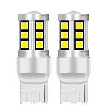 Lâmpadas de freio de motor, 2 peças, tamanho pequeno, t20 7440 w21w wy21w 15 smd 3030 led, lâmpadas de seta de carro, lâmpadas de freio drl luzes vermelho branco amarelo